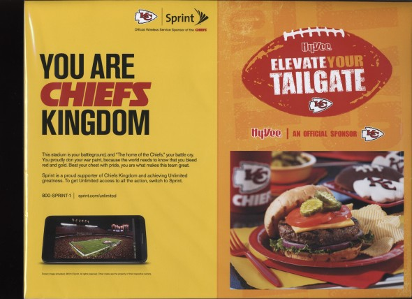 Back Cover of the 2012 Kansas City Chiefs Vs Seattle Exhibition Football Game Program