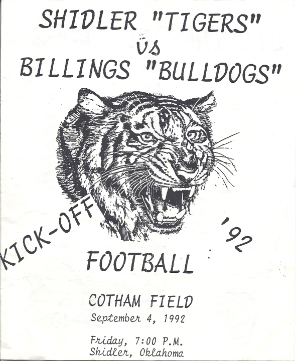 Front Cover of the 1992 Shidler High School Vs Billings Program