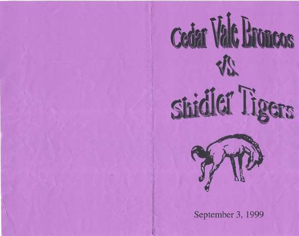 Front Cover of the 1999 Shidler High School Vs Cedar Vale Football Game Program