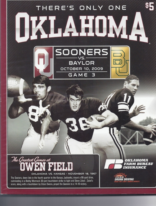 Front Cover of the 2009 Oklahoma Sooners Vs Baylor Football Game Program