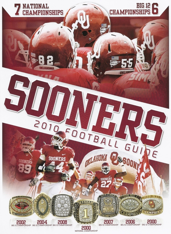 Front Cover of the 2010 Oklahoma Sooners Football Media Guide