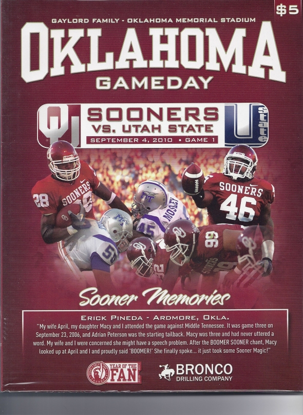 Front Cover of the 2010 Oklahoma Sooners Vs Utah State Football Game Program