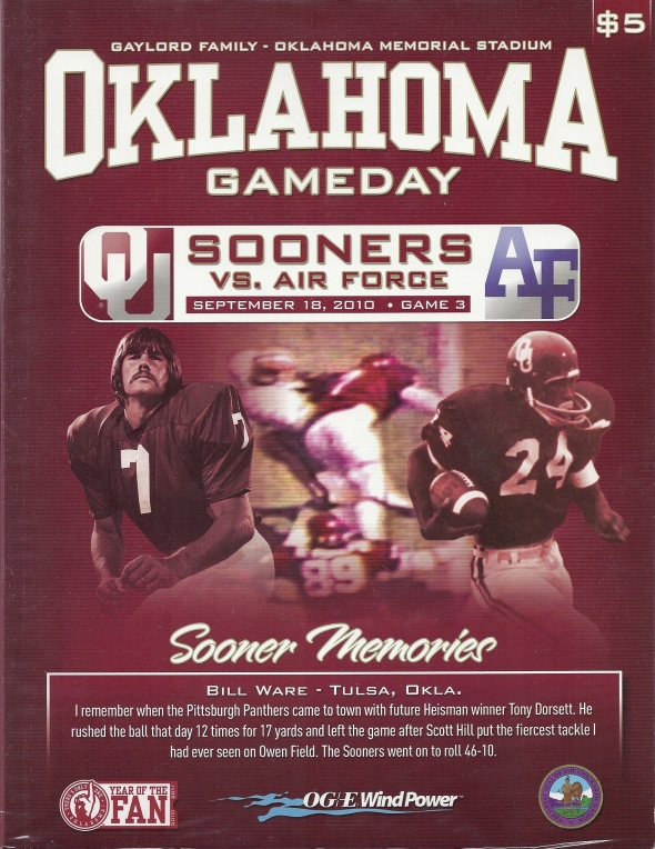Front Cover of the 2010 Oklahoma Sooners Vs Air Force Football Game Program