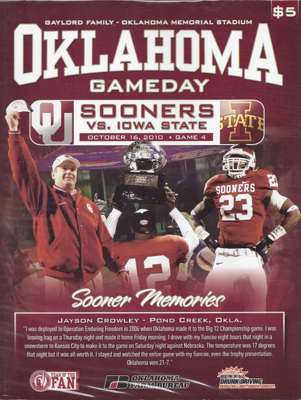 Front Cover of the 2010 Oklahoma Sooners Vs Iowa State Football Game Program
