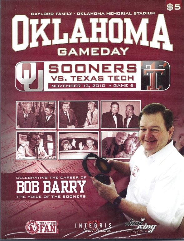 Front Cover of the 2010 Oklahoma Sooners Vs Texas Tech Football Game Program