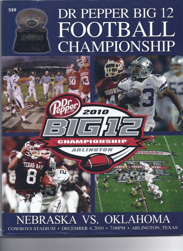 Front Cover of the 2010 Oklahoma Sooners Vs Nebraska Football Game Program