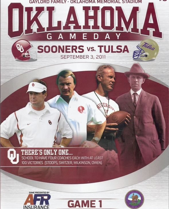 Front Cover of the 2011 Oklahoma Sooners Vs Tulsa Football Game Program