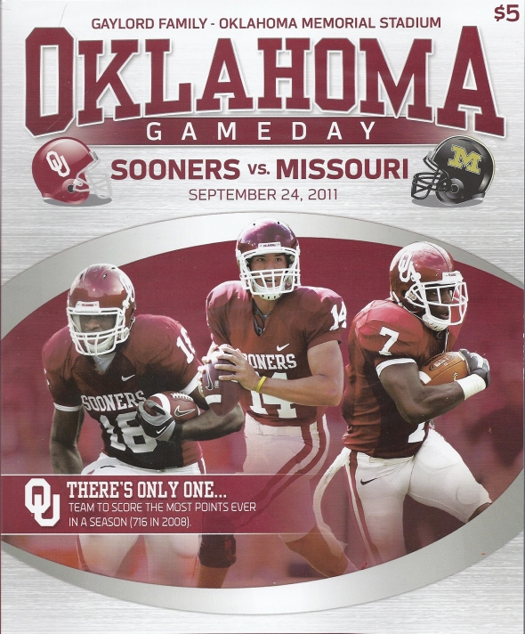 Front Cover of the 2011 Oklahoma Sooners Vs Missouri Football Game Program