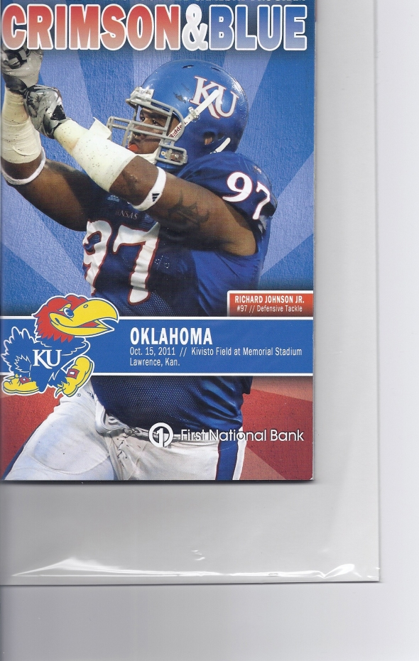 Front Cover of the 2011 Oklahoma Sooners Vs Kansas Football Game Program