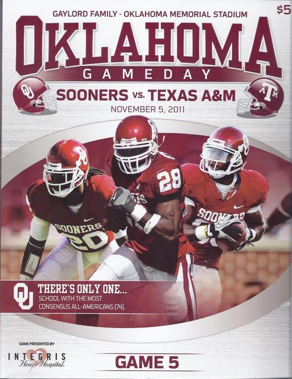 Front Cover of the 2011 Oklahoma Sooners Vs Texas A&M Football Game Program