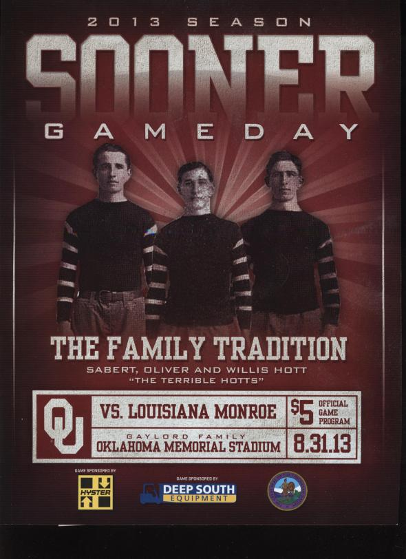 Front Cover of the 2013 Oklahoma Sooners Vs Louisiana Monroe Football Game Program