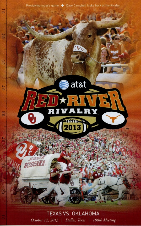 Front Cover of the 2013 Oklahoma Sooners Vs Texas Football Game Program