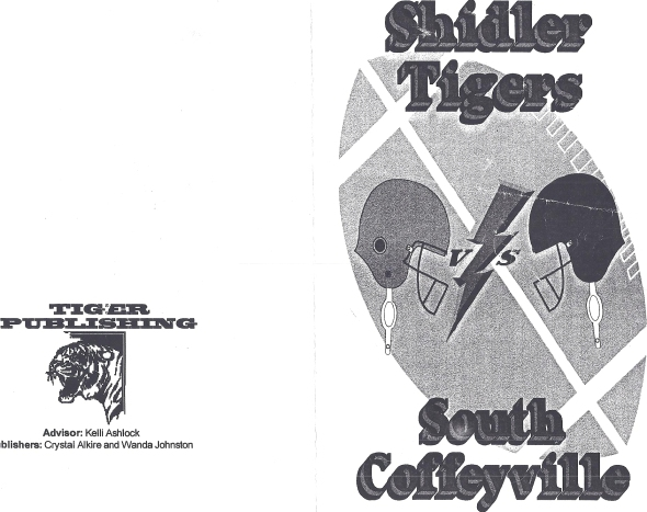 Front Cover of the 1999 Shidler High School Vs South Coffeyville Football Game Program