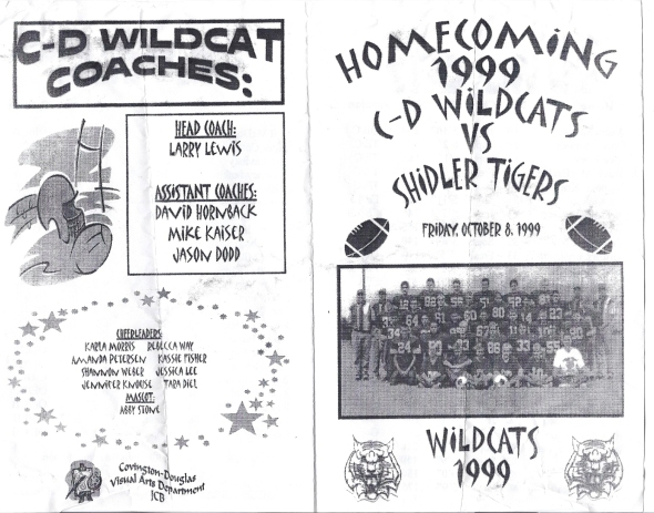 Front Cover of the 1999 Shidler High School Vs Covington-Douglas Football Game Program