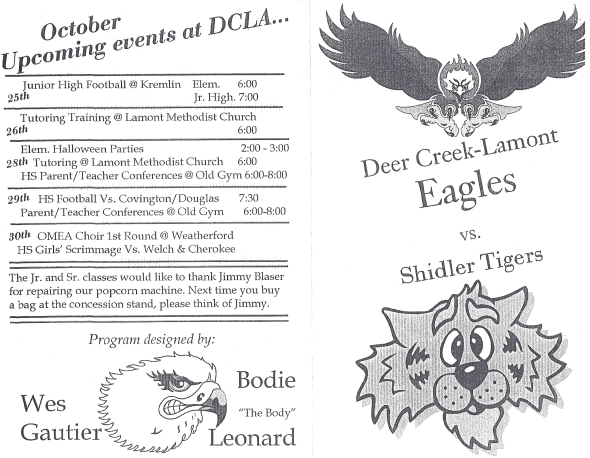 Front Cover of the 1999 Shidler High School Vs Deer Creek-Lamont Football Game Program