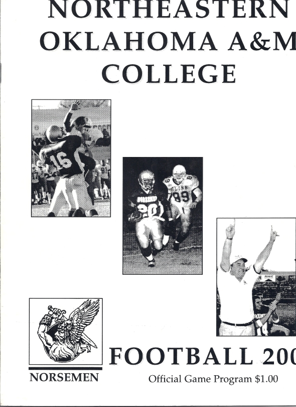 Front Cover of the 2000 Northeastern Oklahoma A&M College Vs Trinity Valley Football Game Program