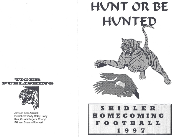 Front Cover of the 1997 Shidler High School Vs DCLA Football Game Program