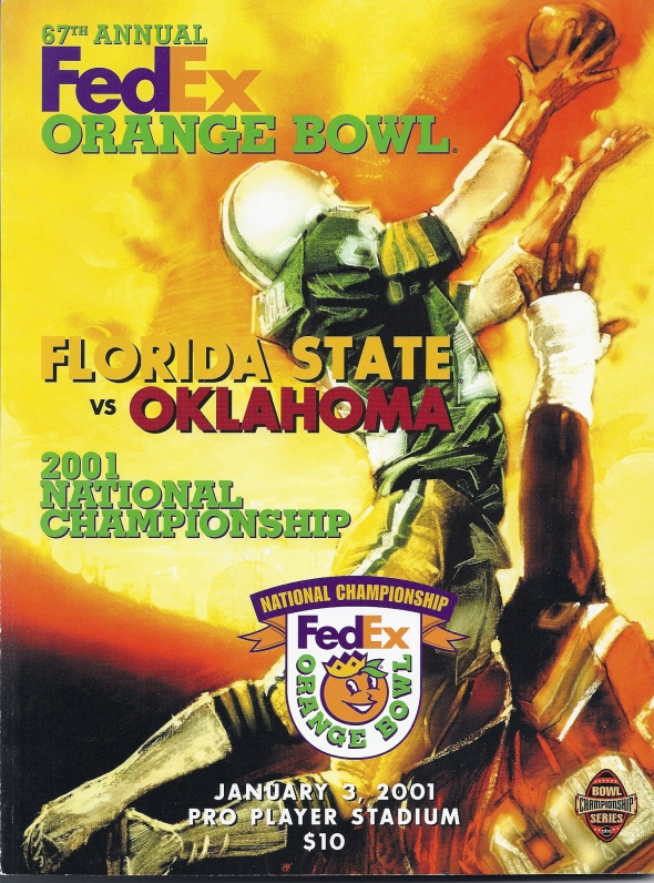 Front Cover of the 2000 Oklahoma Sooners Vs Florida State Football Game Program