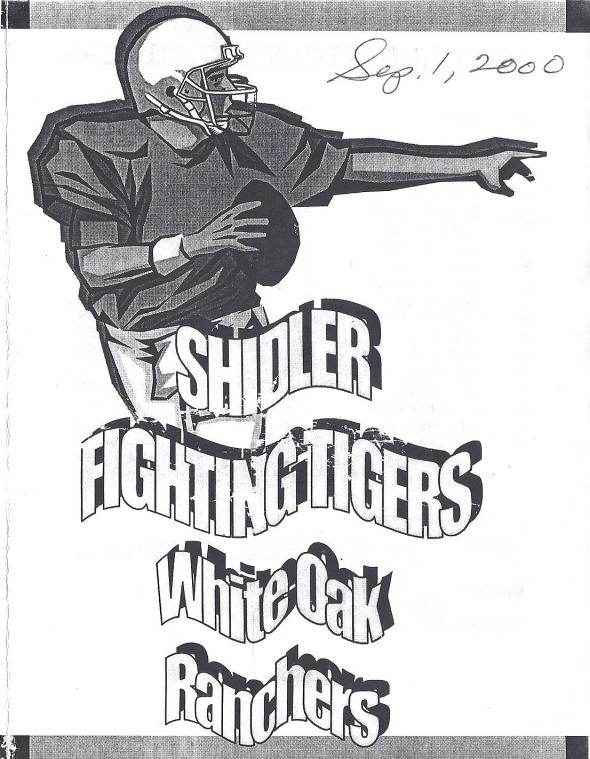 Front Cover of the 2000 Shidler Tigers Vs White Oak Football Game Program