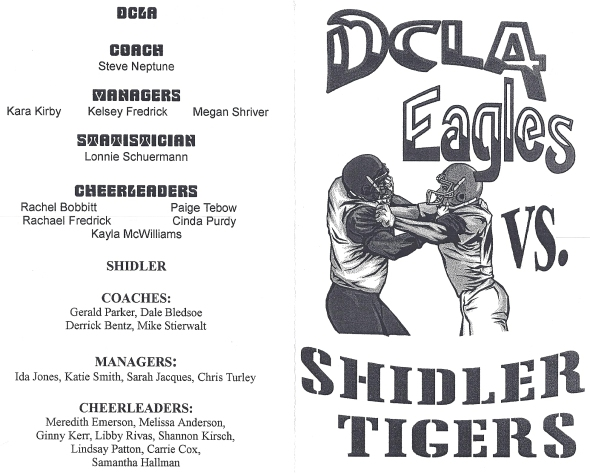 Front Cover of the 2000 Shidler Tigers Vs Deer Creek-Lamont Football Game Program