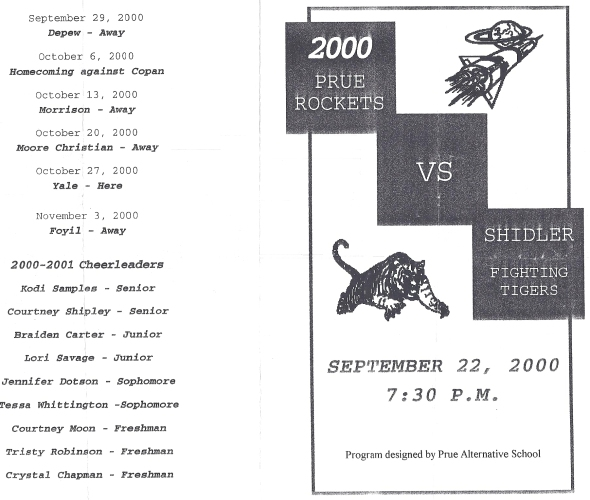 Front Cover of the 2000 Shidler Tigers Vs Prue Football Game Program