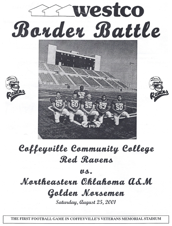 Front Cover of the 2001 Northeastern Oklahoma A&M Norsemen Vs Coffeyville Football Game Program