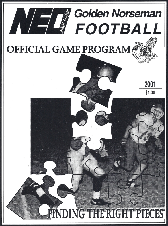 Front Cover of the 2001 Northeastern Oklahoma A&M Norsemen Vs Butler County Football Game Program