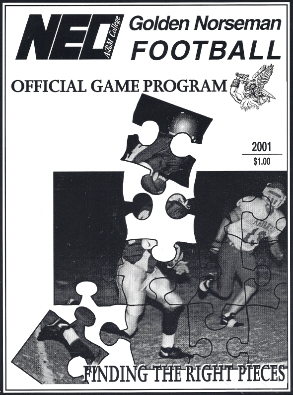 Front Cover of the 2001 Northeastern Oklahoma A&M Norsemen Vs Trinity Valley Football Game Program