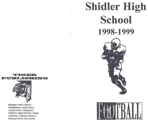 Front Cover of the 1998 Shidler High School Vs Cedar Vale Football Game Program