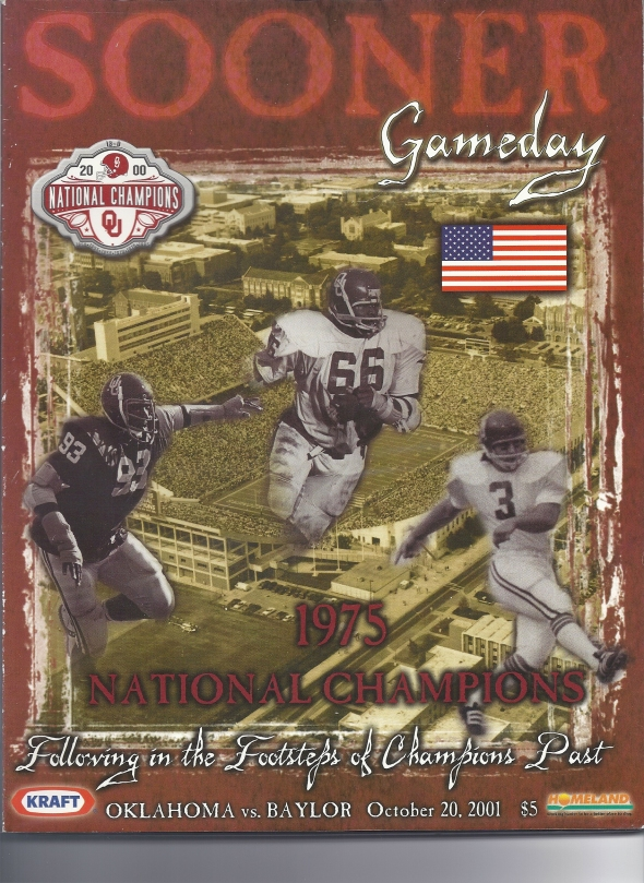 Front Cover of the 2001 Oklahoma Sooners Vs Baylor Football Game Program