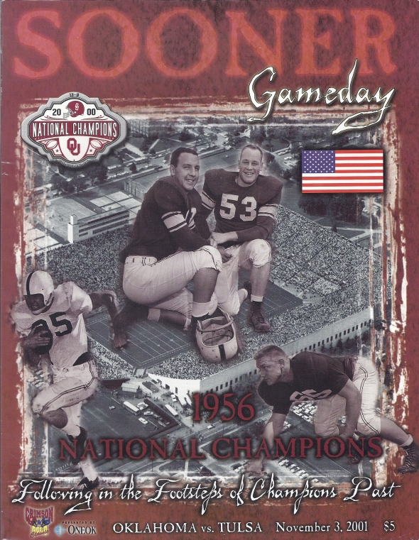 Front Cover of the 2001 Oklahoma Sooners Vs Tulsa Football Game Program