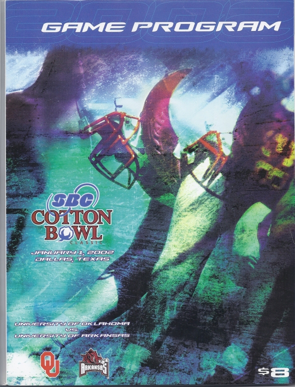 Front Cover of the 2001 Oklahoma Sooners Vs Arkansas Football Game Program