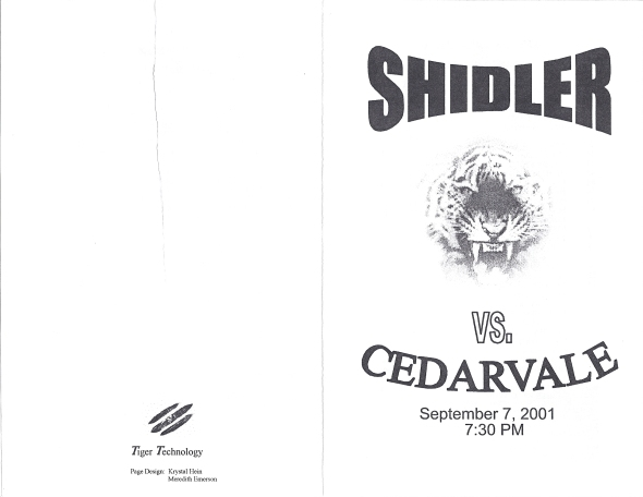 Front Cover of the 2001 Shidler Tigers Vs Cedarvale Football Game Program