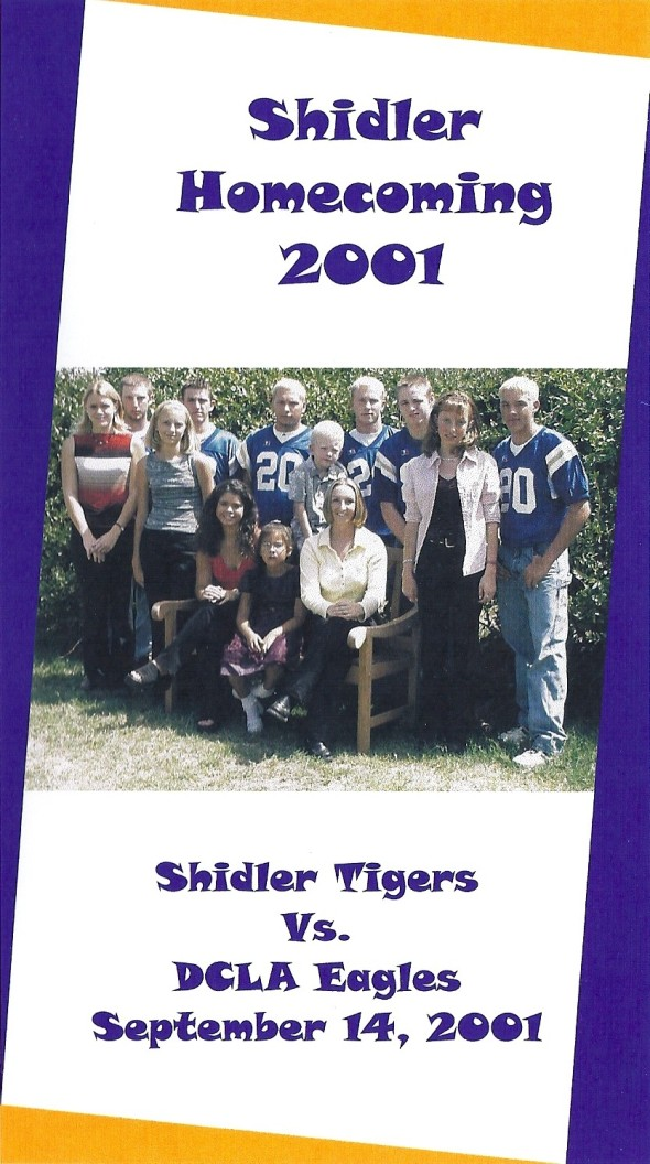 Front Cover of the 2001 Shidler Tigers Vs Deer Creek-Lamont Football Game Program
