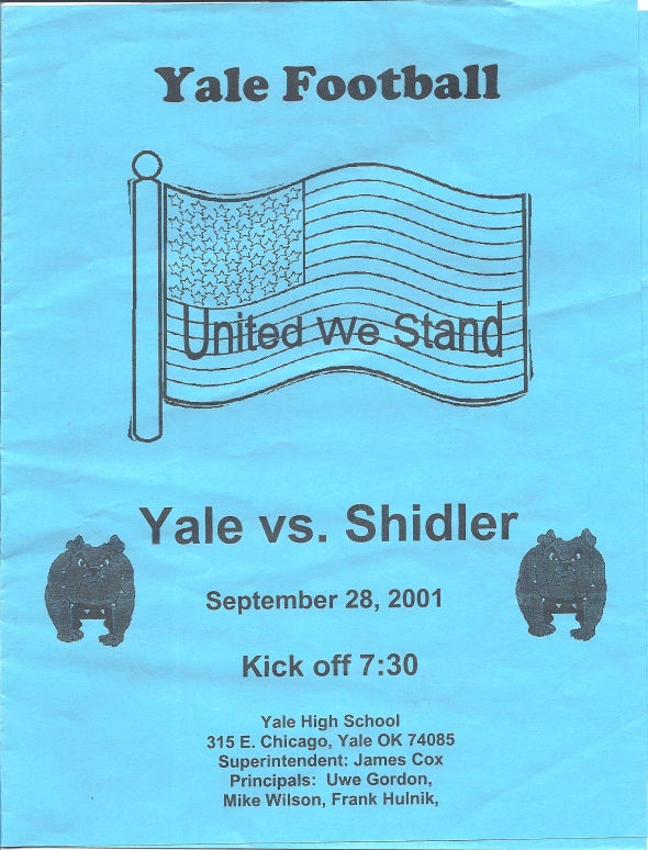 Front Cover of the 2001 Shidler Tigers Vs Yale Football Game Program