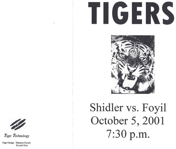 Front Cover of the 2001 Shidler Tigers Vs Foyil Football Game Program