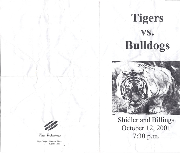 Front Cover of the 2001 Shidler Tigers Vs Billings Football Game Program