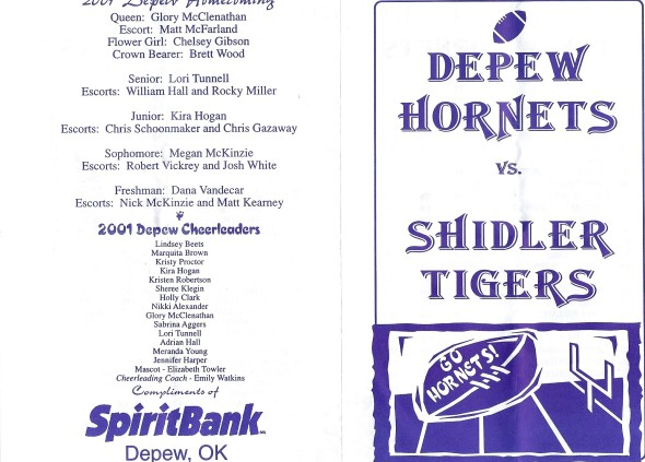Front Cover of the 2001 Shidler Tigers Vs Depew Football Game Program