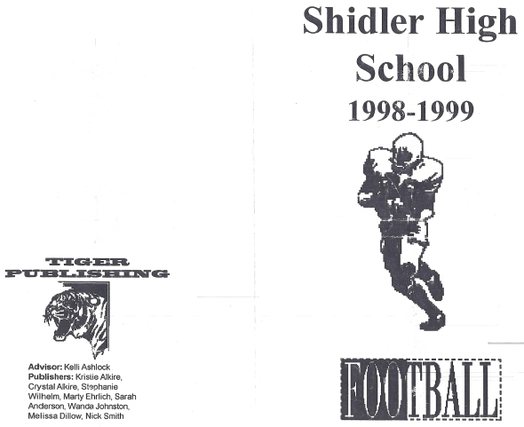 Front Cover of the 1998 Shidler High School Vs Geary Football Game Program