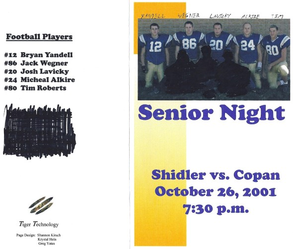 Front Cover of the 2001 Shidler Tigers Vs Copan Football Game Program