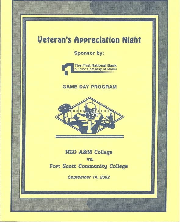Front Cover of the 2002 Northeastern Oklahoma A&M Norsemen Vs Fort Scott Football Game Program