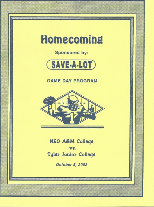Front Cover of the 2002 Northeastern Oklahoma A&M Norsemen Vs Tyler Football Game Program