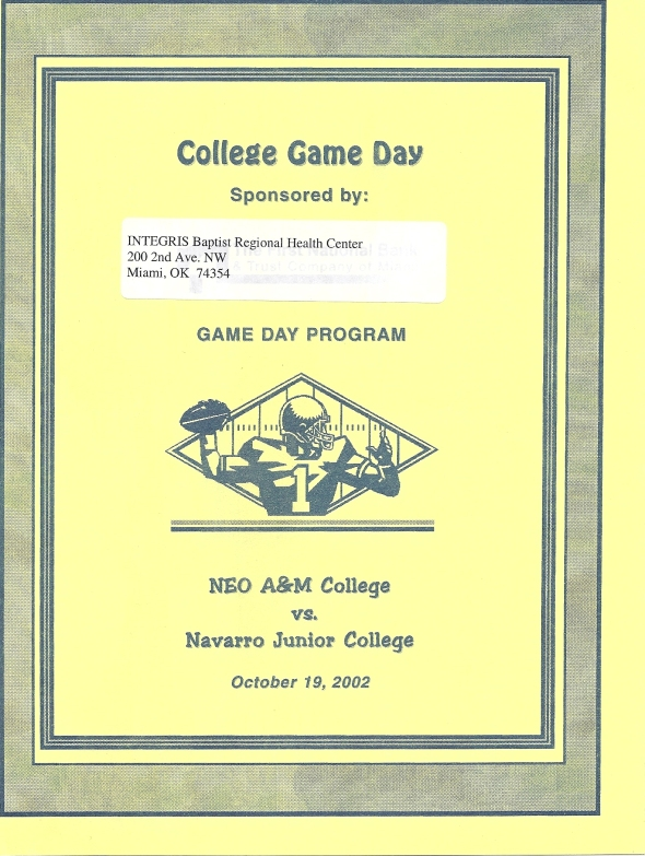 Front Cover of the 2002 Northeastern Oklahoma A&M Norsemen Vs Navarro Football Game Program