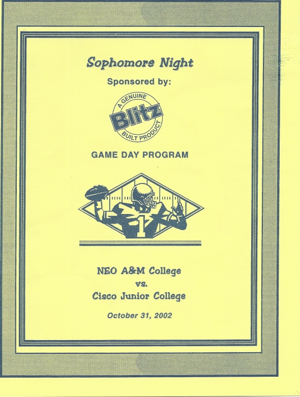 Front Cover of the 2002 Northeastern Oklahoma A&M Norsemen Vs Cisco Football Game Program