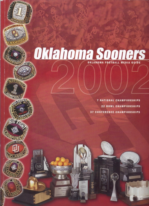 Front Cover of the 2002 Oklahoma Sooners Football Media Guide