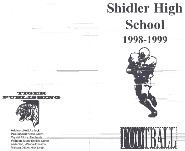 Front Cover of the 1998 Shidler High School Vs Tyro Football Game Program