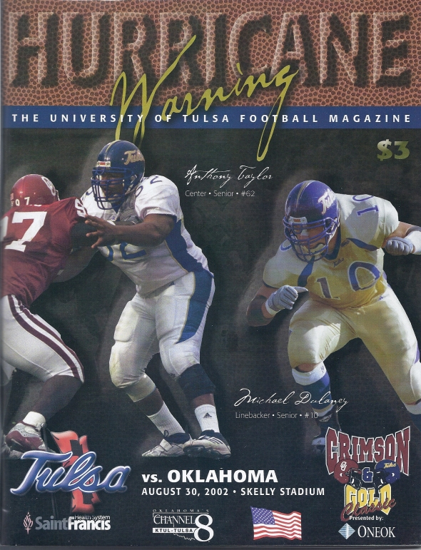Front Cover of the 2002 Oklahoma Sooners Vs Tulsa Football Game Program