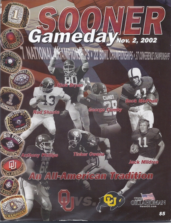 Front Cover of the 2002 Oklahoma Sooners Vs Colorado Football Game Program