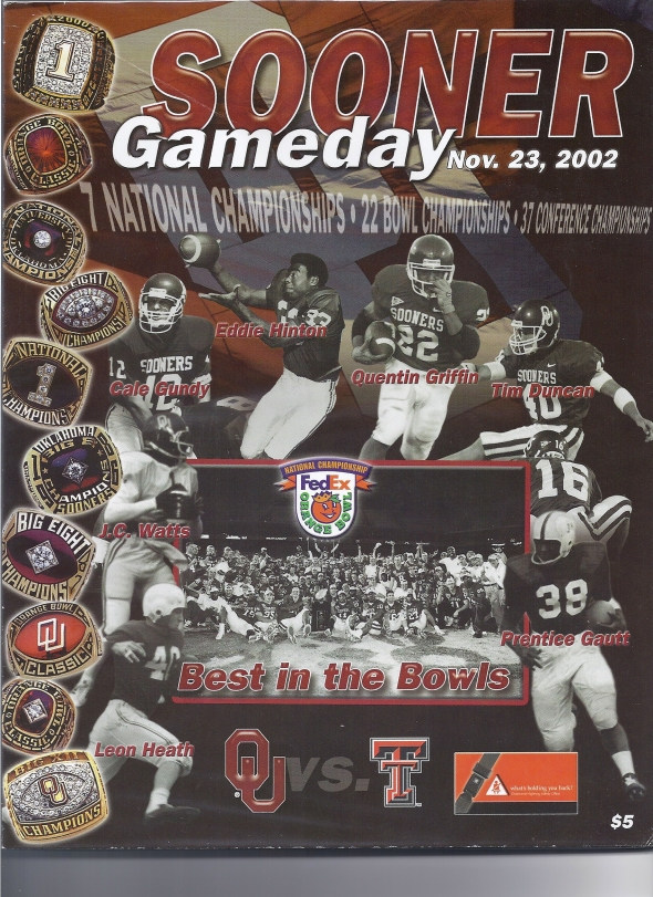 Front Cover of the 2002 Oklahoma Sooners Vs Texas Tech Football Game Program