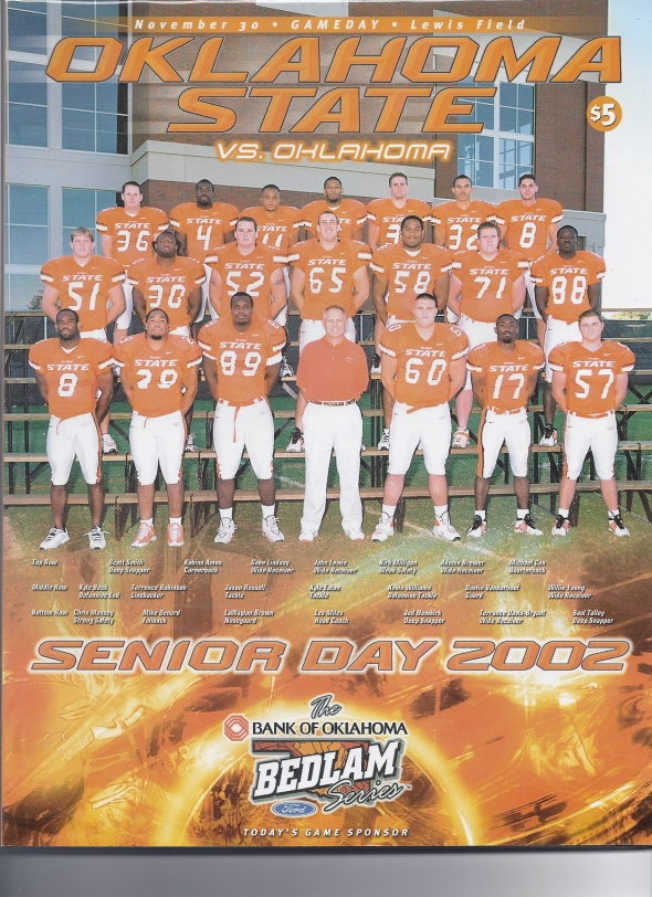Front Cover of the 2002 Oklahoma Sooners Vs Oklahoma State Football Game Program